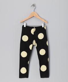 Black Polka Dot Leggings - Girls