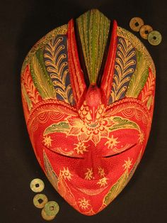 hand carved and painted wood Buddha mask