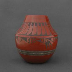 Wright's Indian Art: Grey on Red Feather Olla by Erik Fender $1350
