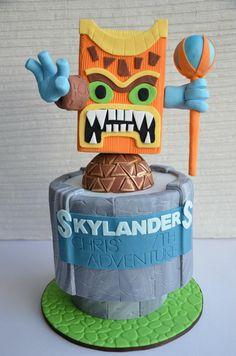 Skylanders cake doubles as a great tiki mask cake...