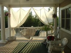 porch swing and curtain
