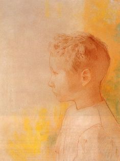 """ Odilon Redon (1840-1916), Portrait of the Son of Robert de Comecy (1898), pastel and red chalk on buff paper, 32.7 x 50.5 cm """