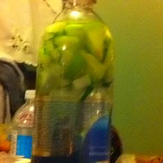Detox water! Cucumber and granny smith apple chunks in a water bottle to taste! Yummy!