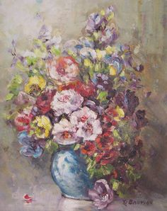 1960 Listed Glenn F Bastian BOWL OF FLOWERS Orign Oil Painting Indiana Artist  #Impressionism