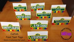 Sesame Street Themed Party Food Tent Cards - PLUS menu is planned for you. $10.00, via Etsy.