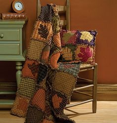 Beautiful colors - applique silhouettes onto homespun fabrics to make rag quilt and pillow cover - wonderful autumn inspiration, but this would be great for Christmas or various themes in the right fabrics - would make up pretty quickly too - must try! (inspiration only) (repin)