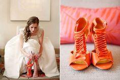 galleri, orange you glad, wedding shoes, color, orange weddings, wedding heels, bridesmaid shoes, bride shoes, blog