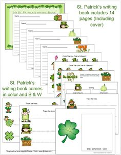I have added St. Patrick's Themed Uppercase and Lowercase cards.  Also includes a St. Patrick's Writing Book - you can use this file in book form,  one for each child or print up pages, laminate and place in writing center. Includes St. Patrick's vocabulary words to use in your writing center. All items in  color and B & W. Jean 1 - 2 - 3 Learn Curriculum write book, book form