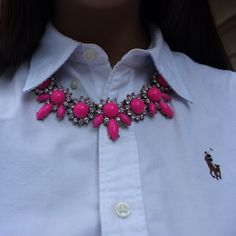 pink statement necklace, white button up shirt