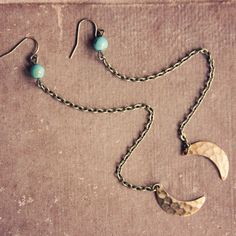 moondrops.  a pair of teal and gold moon by RootsandFeathers, $18.00