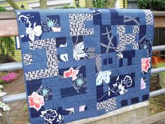 Beautiful Asian inspired quilt made with Yukata fabrics.  See Asian quilt fabrics like this at: http://www.debsews2.com/