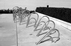 Giant paper clip bike racks.