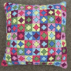 Little Granny Squares Cushion by GingerbreadGirlsPhotos, via Flickr cushion covers, cushions, granny squares, granni squar, belle, crochet pillow granny square, feathers, amy butler, squar cushion