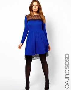 Skater Dress With lace Hem from ASOS Curve.  Plus size.