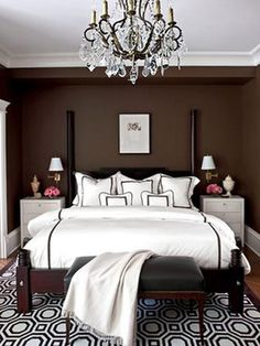 Awesome guest room.  The only problem is that the guests wouldn't want to leave. wall colors, rug, starter home, dream, chocolate brown, white bedrooms, master bedrooms, traditional homes, color trends