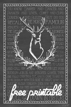 Adorable Free Rudolph The Red Nosed Reindeer Christmas Chalkboard Printable! They are sized so that you can print them as engineer prints at staples for instant art!