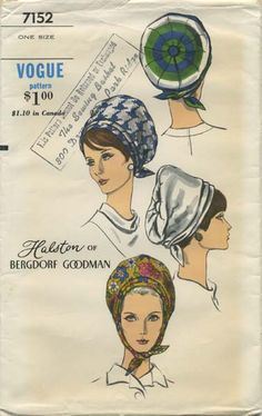 Vintage Hat Sewing Pattern | Vogue 7152 | Year 1967 | One Size | Turban | Halston of Bergdorf Goodman
