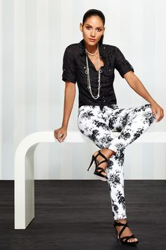 Black & white lets casual outfits feel sophisticated enough to take to the office