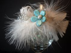 Fluffy Feather and Turquoise Beaded Flower by SavvyEmbellishments, $11.95