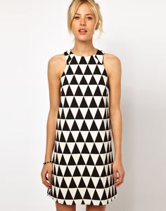 ASOS Shift Dress In Triangle pattern