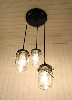 Rustic ball jar lighting from Lampgoods via Etsy