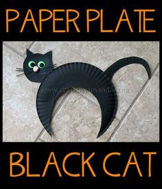 Make an adorable paper plate black cat for Halloween!