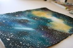 Dark Blue Night Sky Stars and Galaxies Watercolor by AudreyDeFord