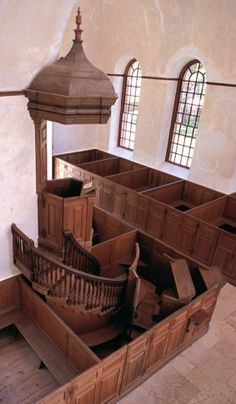 The triple deck pulpit in Historic Christ Church, built in 1735--one of two surviving triple deckers from colonial Virginia.
