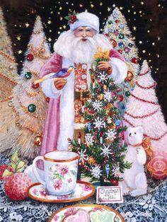 Christmas Tea - Holiday - Gallery Artist: Susan Rios holiday, christma thing, christma tea, susan rio, art, santa claus, christmas, pink christma, susanrio