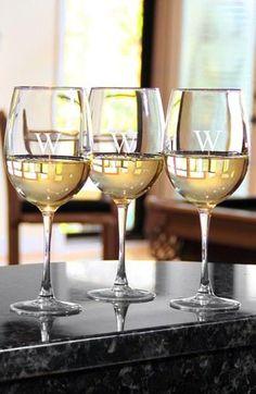 Monogrammed Summer White Wine Glasses