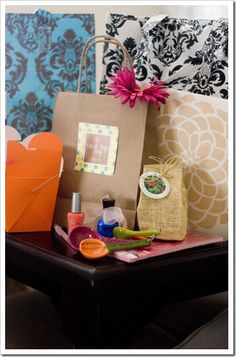 Favorite Things Party.... cute idea! gift, bag, thing parti