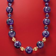 500.00 ct. t.w. Amethyst Bead Necklace in 14kt Yellow Gold. Smooth, polished amethyst beads infuse your look with rich color. >>Click on the Amethyst Necklace for more styles.