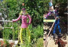 garden art, tin ladi, paint tin