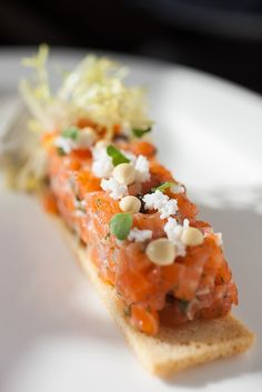 Marinated Salmon Tartare I  Dill Whipped Créme Fraîche I Frozen Mustard Pearls I Sieved Egg I Brioche Crouton I The Bocuse Restaurant I The Culinary Institute of America