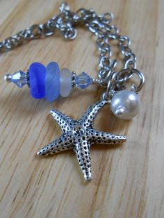 Sea Glass Jewelry - Starfish Cluster Necklace - MIRACLE CITY. via Etsy.