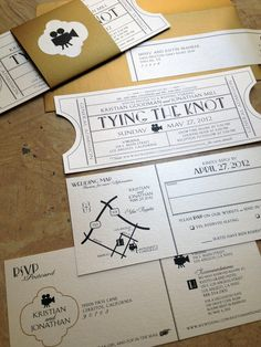 Vintage Cinema Invitation Ticket with tear-off RSVP postcard & Map info.