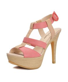 Platform Heeled Sandals with T-Bar and Stripe Detail