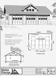 colonial style 3 car garage plan with loft 975 3 by behm design - Pole Barn Garage Plans