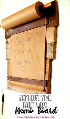 "Farmhouse style DIY pallet wood memo board. <a href=""http://www.cupcakesandcrinoline.com"" rel=""nofollow"" target=""_blank"">www.cupcakesandcr...</a>"