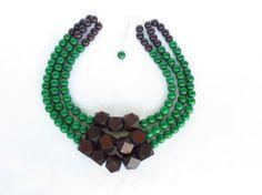 COLOR BLOCK Wood Necklace Emerald Green by WildflowersAndGrace