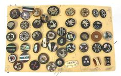 ButtonArtMuseum.com -  Antique Carded 19th Century 1800'S 49 Inlaid Buttons Mother OF Pearl Metal YQZ
