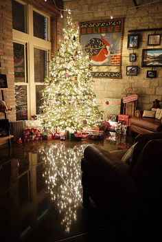 holiday, christmas time, floors, white lights, christma tree, christmas lights, loft, stone walls, christmas trees