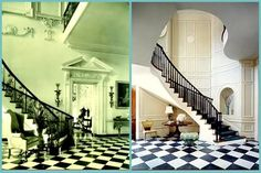 black and white marble checkerboard floors in entry