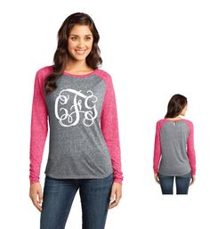 Juniors Long Sleeve Raglan Monogram Shirt