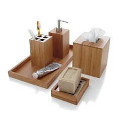 Bamboo Tissue Cover in Bath Accessories | Crate and Barrel
