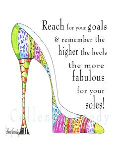 Illustrated high heel shoe quote 5x7 art print by VanityGallery, $8.00