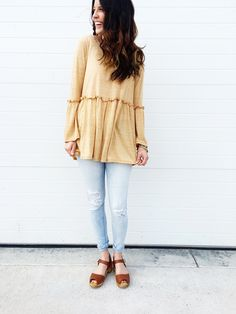Happy Day Blouse in Mustard | ROOLEE