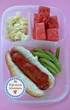 My Epicurean Adventures: Here's Lunch #6: Hot Dog for ME - Great different lunch box idea to send a hot dog. Yum!