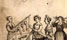 Illustration from an 18th Century French sex manual for women.   Read on:  http://mobile.slate.com/blogs/the_vault/2013/06/26/early_sex_manual_the_school_of_venus_published_in_1680.html