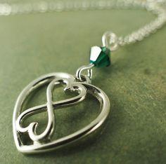 Silver Infinity Heart Necklace with Swarovski Crystal